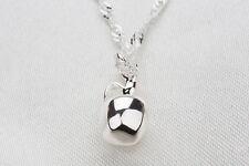 Plata Esterlina 925 Plateado 3d Apple encanto colgante collar Damas Niñas Regalo
