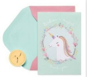 14 PC PAPYRUS UNICORN CARDS YOU ARE MAGICAL THANK YOU CARDS GLITTER IN BOX