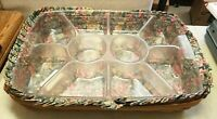 Longaberger 1995 Large Serving Tray Basket 2 Plastic Inserts Fabric Liner 19x13