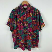 VINTAGE Womens Shirt Blouse Top 18 Plus Multicoloured Floral Short Sleeve