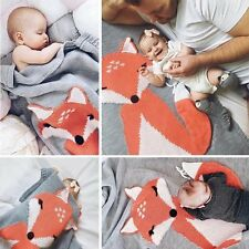 Cute Fox Knitting Baby Blanket Wrap Swaddling Pram Cot Crib Mosses Blankets