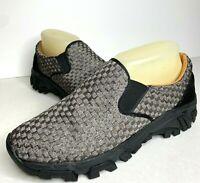Bernie Mev Women Sz 38 / 8 Pewter Black Gray Sneaker Stretch Slip On Shoe Loafer