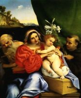 VIRGIN AND CHILD SAINTS JEROME AND NICHOLAS OF TOLENTINO PAINTING BY LOTTO REPRO