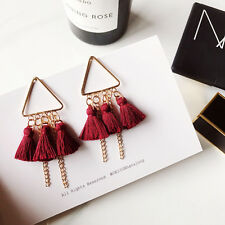 Bohemian Long Gold Tassel Fringe Triangle Drop Dangle Fashion Red Earrings 005