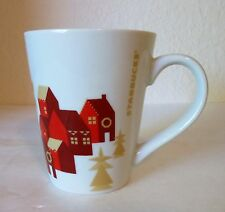 Starbucks Winter Holiday 2013 Coffee Mug Red Village Houses w/Gold Trees Tapered
