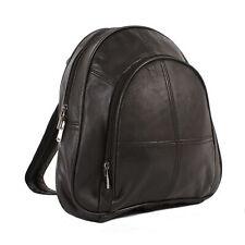 Ladies Soft Leather Backpack with Zip Together Shoulder Straps and Front Pocket