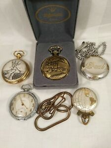LOT OF 5 POCKET WATCHES FOR PARTS OR REPAIR