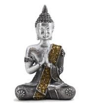"Small Feng Shui 4"" Thai Praying Meditating Silver Buddha Statue Figurine"