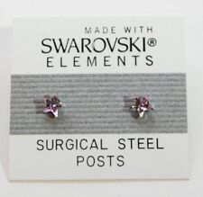 Purple Star Stud Earrings 4mm Small Crystal  Made with SWAROVSKI ELEMENTS
