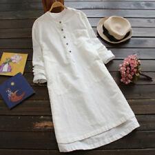 Women Long Sleeve Blouse Shirt Cotton Linen Casual Loose Tunic Long Tops M-5XL