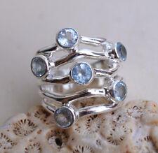 Silberring 51 Blautopas Blau Handarbeit Silber Ring Elegant Design Modern Massiv