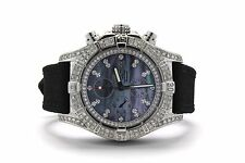 8.5CT Breitling Super Avenger MOP A13370 Diamond Case Bezel Military Kevlar