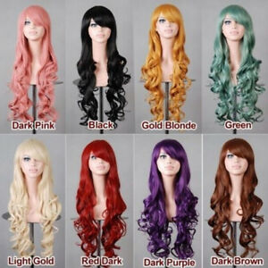Womens Long Wave Curly Wigs Pink Blue Cosplay Party Synthetic Hair Wigs 80cm