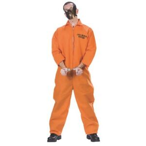 Hannibal Lecter Adult Costume Orange Jumpsuit Mask Silence Of The Lambs Prison
