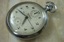 A MARNEY FRENCH MADE CHRONOGRAPH POCKET WATCH c.EARLY 1930'S NEEDS OF A SERVICE