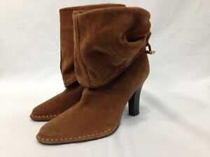 Hot In Hollywood Boots Womens 9 M Sienna Brown Heels Leather Slouch Ankle Fold