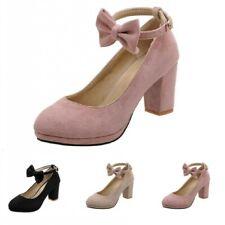 47/48/49 Women Pumps Dress OL Office Work Roudn Toe Block Heel Shoes 4 Colors D