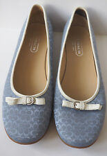 COACH Crystal Light Blue Ballet Flats Loafers with White Trim - Size 8