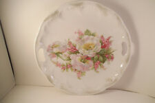 Vintage Made in Germany Two Handled White Flowers Cake Plate Platter