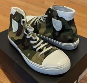 "$695 Mens Saint Laurent ""Bedford"" Camo High-Top Sneakers Green/Brown 43 US 10"