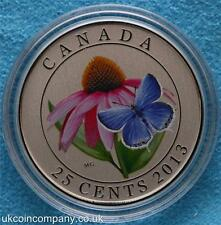 2013 Canada 25 Cent Coloured Coin Purple Coneflower And Eastern Tailed Blue