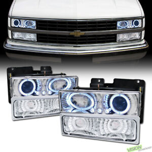 Chrome LED Halo Projector Headlight+Bumper Yd For 88-00 Chevy C10 Tahoe/Suburban
