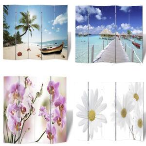 Foto-Paravent Paravent Raumteiler Deko Panels Strand & Blumen mehrere Auswahl