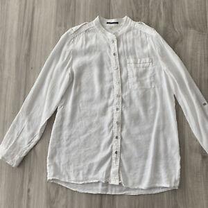 Elie Tahari White Linen & Silk Blend Button Down Long Sleeve Top Size L