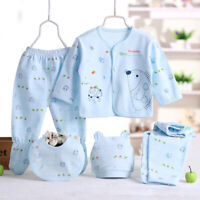 5PCS/Set Newborn Infant Baby Boy Girl Clothes Suits Shirts+Pants+Hat+Bid Outfit