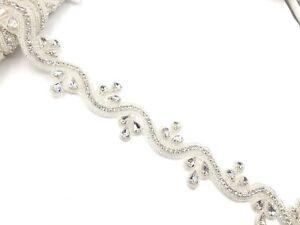 11'' Beautiful Bridal Silver Rhinestone Belt Bridal Lace For Wedding Dress Tr
