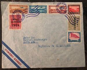 1936 Guatemala Early Airmail Cover To Santa Ana Salvador