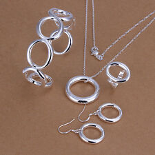 "Sterling solid silver ""O"" necklace&bracelet&earrings&ring Jewelry Sets XLSS293"