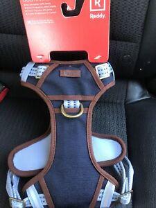 REDDY Dog Harness ,  Med. Adjustable New Color !Blue    Brown leather/Handle NEW
