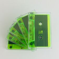More details for professional grade tape c60 blank cassette tapes in cases x 5 - neon green