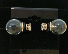 Earrings* Globe black heart confetti dual sided simulated diamond stud