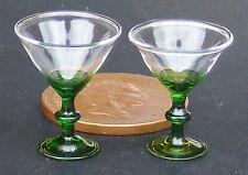 1:12 escala 2 vasos de martini con tallo verde & Base Casa de muñecas en miniatura de GLA44g