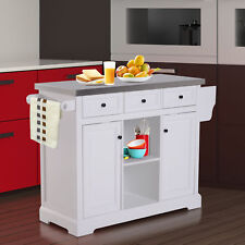 Charmant Modern Wooden Rolling Kitchen Cart Island Cabinet Storage Utility   White