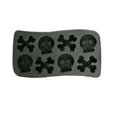 New Halloween Silicone Skull & Crossbones Ice Cube Skull Tray Mold 8 Cavities DI