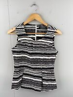 Basque Womens Sleeveless Zip Fitted Stretch Pleat Casual Top Size 10 Black White