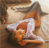 CHENPAT904  100% hand painted Mermaid by the sea oil painting art canvas