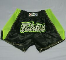 FAIRTEX SHORTS BS302 MUAY THAI KICK BOXING MMA XL BLACK GREEN SATIN ADULT UNISEX