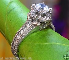 1.53CT ROUND CUT FLORAL SOLITAIRE ENGAGEMENT RING IN STERLING SILVER