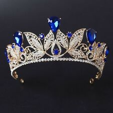 GOLD CROWN/TIARA WITH CLEAR  & SAPPHIRE BLUE CRYSTALS, WEDDING, BRIDAL, RACING