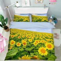3D Sky Sunflower 67 Bed Pillowcases Quilt Duvet Cover Set Single King UK Summer