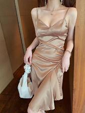 Women's V-Neck Slip Dress Sexy Slim Short Dresses Cocktail Satin Gown Nightclub