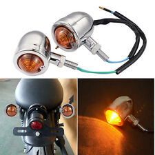 2pcs Motorbike Halogen Lights Turn Signals Mini Bullet Blinker Amber Indicator