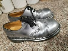 Dr Martin Womens 8262  Lace up shoes Silver boots SIZE 4 / 34 in EUC