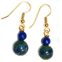 Azurite Earrings Hypoallergenic Surgical Steel Gold Plated ER02