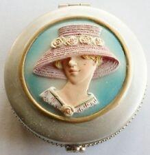 glace de sac bijoux double miroir déco femme en relief couleur argent C4