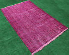 Turkish Rug Nomadic, Vintage Rug, Transition Overdyed Fashion Carpet 5'2''x8'